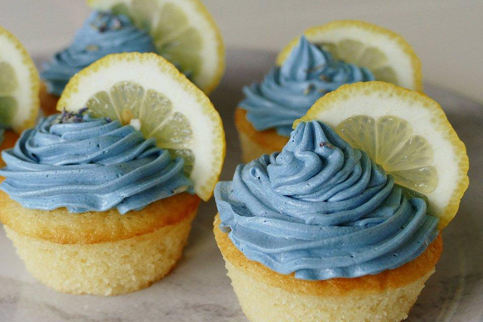 Citroen-lavendel cupcakes